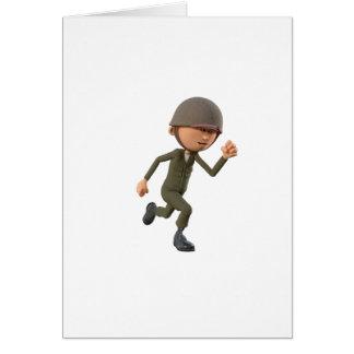 Cartoon Soldier Running Card