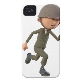 Cartoon Soldier Running Case-Mate iPhone 4 Case