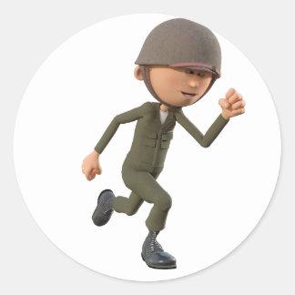 Cartoon Soldier Running Classic Round Sticker