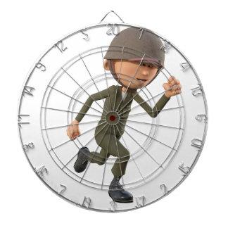 Cartoon Soldier Running Dartboard