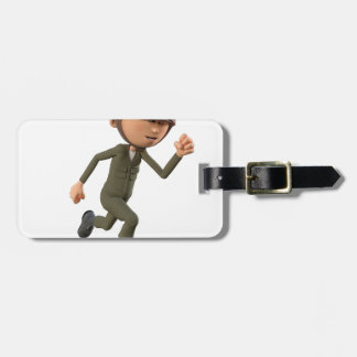 Cartoon Soldier Running Luggage Tag