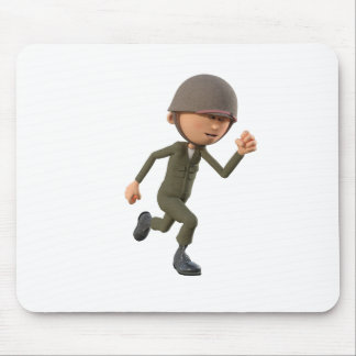 Cartoon Soldier Running Mouse Pad