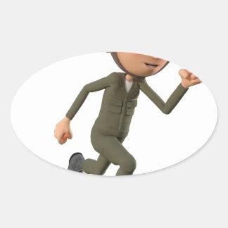 Cartoon Soldier Running Oval Sticker