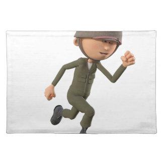 Cartoon Soldier Running Placemat