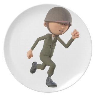 Cartoon Soldier Running Plate