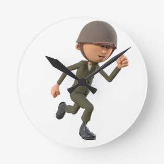 Cartoon Soldier Running Round Clock