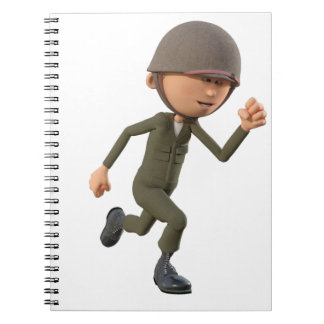 Cartoon Soldier Running Spiral Notebook