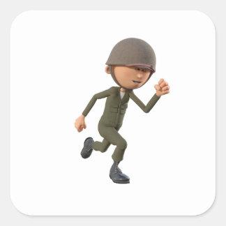 Cartoon Soldier Running Square Sticker