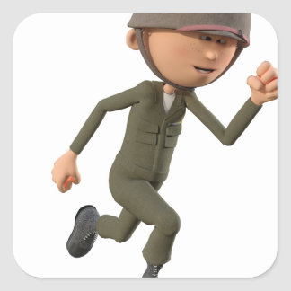 Cartoon Soldier Running Square Sticker