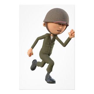 Cartoon Soldier Running Stationery