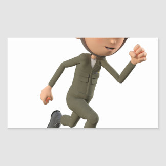 Cartoon Soldier Running Sticker