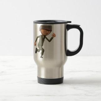 Cartoon Soldier Running Travel Mug