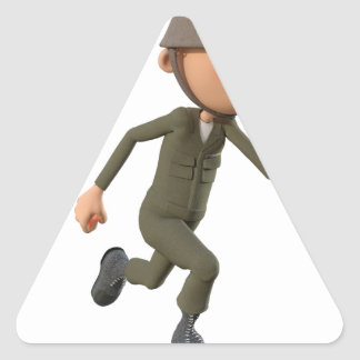 Cartoon Soldier Running Triangle Sticker