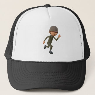 Cartoon Soldier Running Trucker Hat