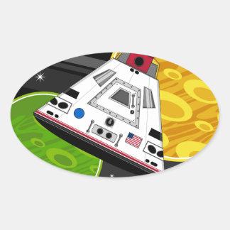 Cartoon Space Shuttle Capsule Oval Sticker