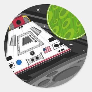 Cartoon Space Shuttle Capsule Round Sticker