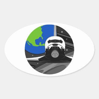 Cartoon Space Shuttle Oval Sticker