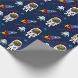 Cartoon Space Theme Custom Birthday Wrapping Paper