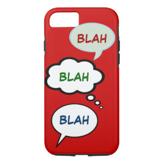 cartoon speech balloons with BLAH iPhone 8/7 Case