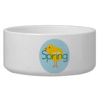 Cartoon Spring Bird Dog Bowl