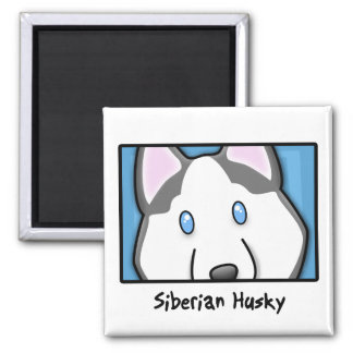 Cartoon Square Siberian Husky Magnet