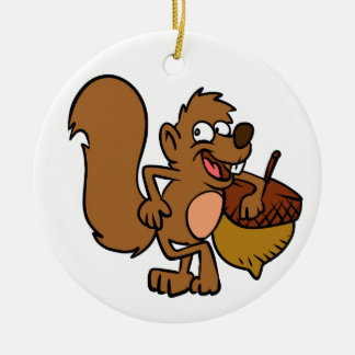 Cartoon squirrel with nut ceramic ornament