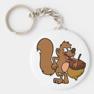 Cartoon squirrel with nut keychain