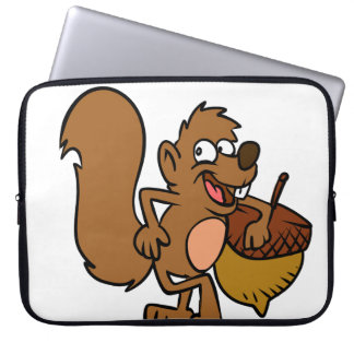 Cartoon squirrel with nut laptop sleeve
