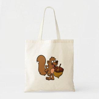 Cartoon squirrel with nut tote bag