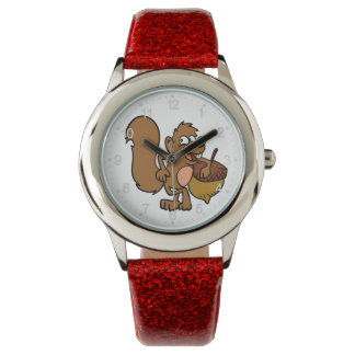 Cartoon squirrel with nut watch