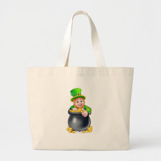 Cartoon St Patricks Day Leprechaun and Pot of Gold Large Tote Bag