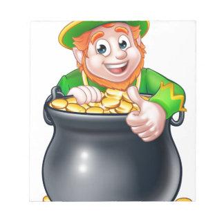 Cartoon St Patricks Day Leprechaun and Pot of Gold Notepads