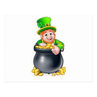 Cartoon St Patricks Day Leprechaun and Pot of Gold Postcard