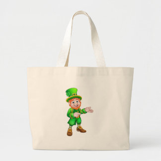 Cartoon St Patricks Day Leprechaun Pointing Large Tote Bag