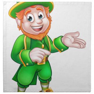 Cartoon St Patricks Day Leprechaun Pointing Napkin