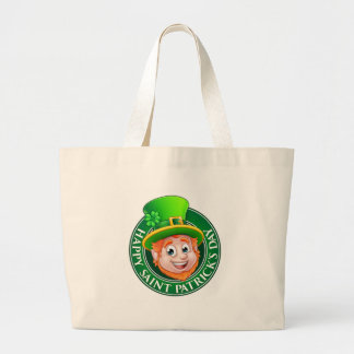 Cartoon St Patricks Day Leprechaun Sign Large Tote Bag