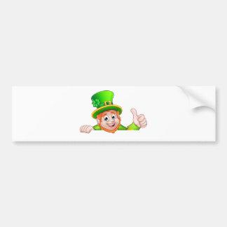 Cartoon St Patricks Day Leprechaun Top of Sign Bumper Sticker