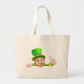 Cartoon St Patricks Day Leprechaun Top of Sign Large Tote Bag