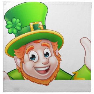Cartoon St Patricks Day Leprechaun Top of Sign Napkin