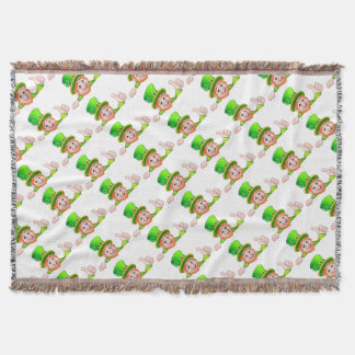 Cartoon St Patricks Day Leprechaun Top of Sign Throw Blanket