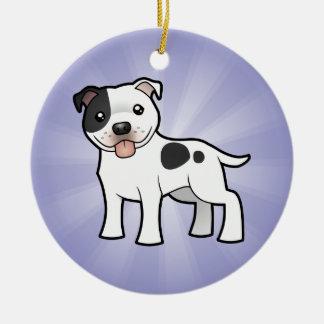 Cartoon Staffordshire Bull Terrier (add your msg) Round Ceramic Ornament