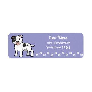 Cartoon Staffordshire Bull Terrier Return Address Label