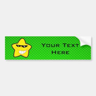 Cartoon Star; Green Bumper Sticker