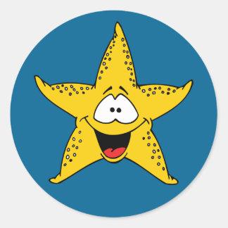 Cartoon Starfish Round Sticker