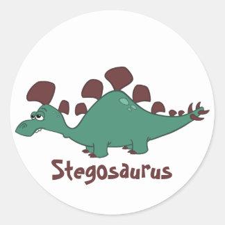 Cartoon Stegosaurus Classic Round Sticker