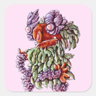 Cartoon stickers purple green butterfly bush plant