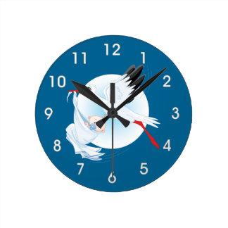 Cartoon Stork and Baby Boy Clock