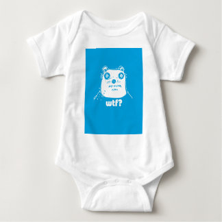 cartoon style blue bear baby bodysuit