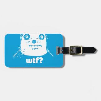 cartoon style blue bear bag tag