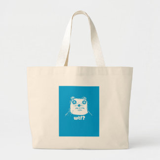 cartoon style blue bear large tote bag